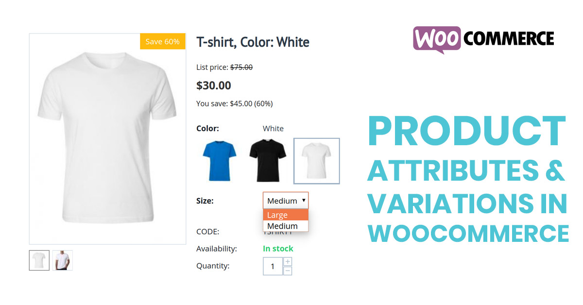 product variations and attributes in woocommerce